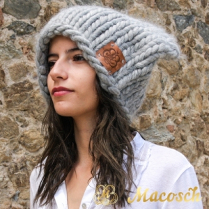 XXL oversized ears beanie hat - big knit yarn wool